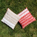 DUO Coussin LIN Nature / Rouge