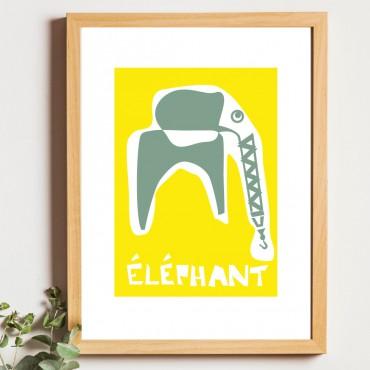 Affiche ÉLÉPHANT Jaune