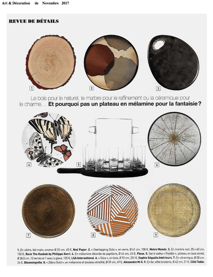Le magazine Art et décoration parle des planches en bois Noe Paper